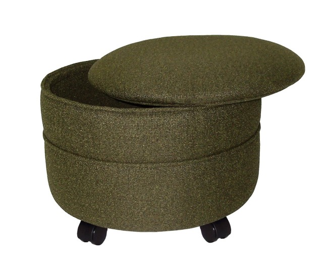 Round Fabric Storage Ottoman