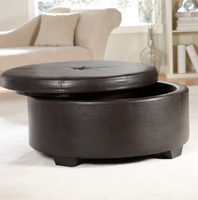 Round Leather Ottoman Coffee Table With Storage