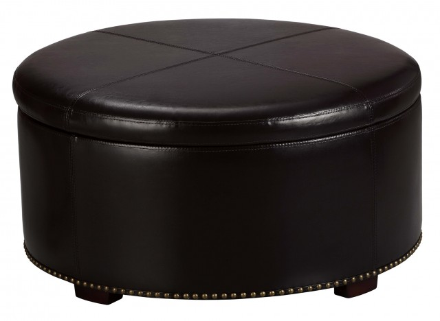 Round Storage Ottoman With Tray