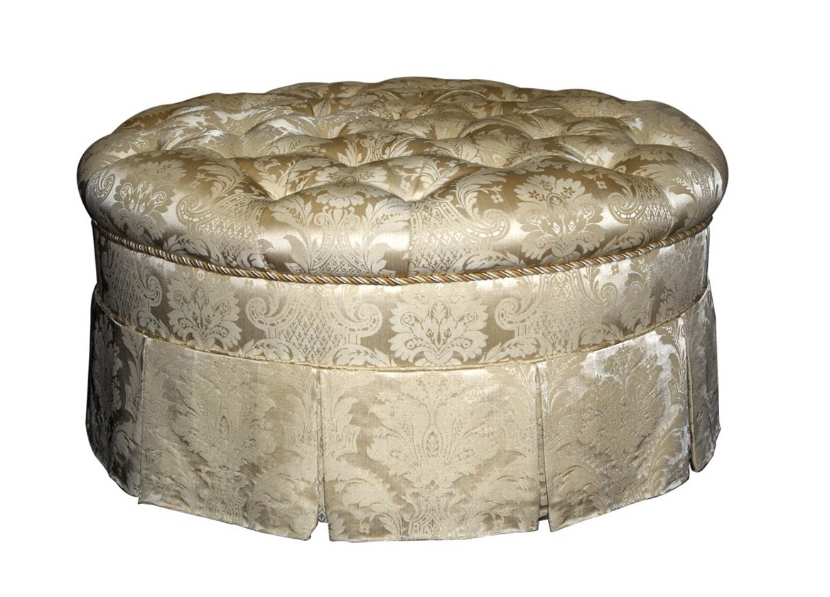 Round Tufted Ottoman With Fringe