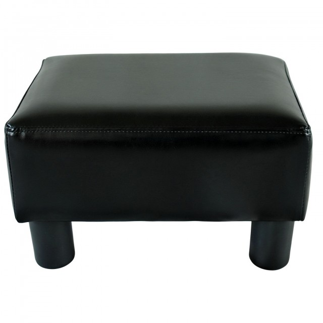 Small Black Leather Ottoman