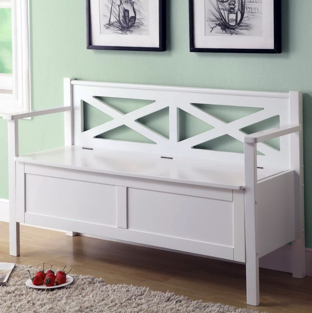 Small White Storage Bench