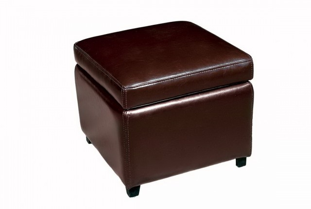 Storage Ottoman Cube Leather