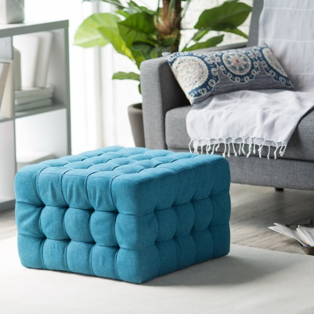 Teal Square Storage Ottoman