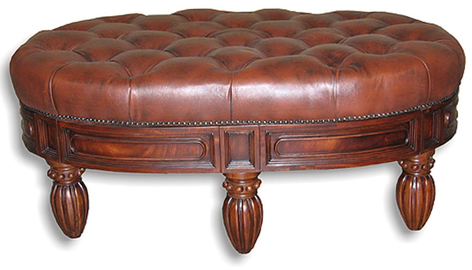 Tufted Leather Ottoman With Nailhead Trim