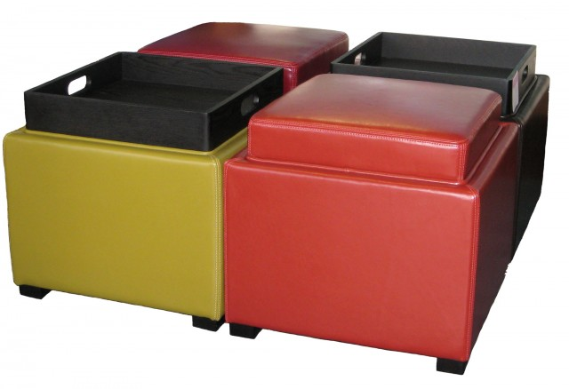 Upholstered Storage Ottoman With Tray