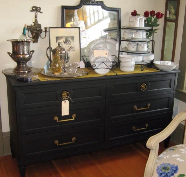Vintage Black Dresser With Mirror