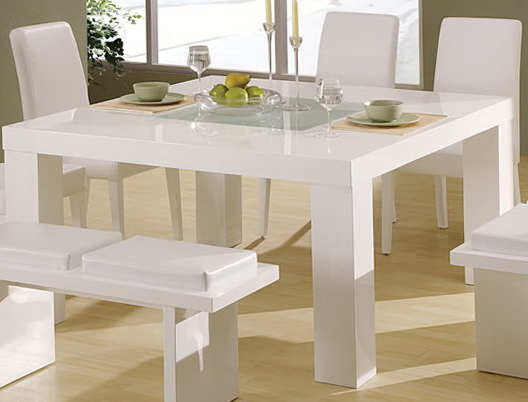 White Dining Set With Bench