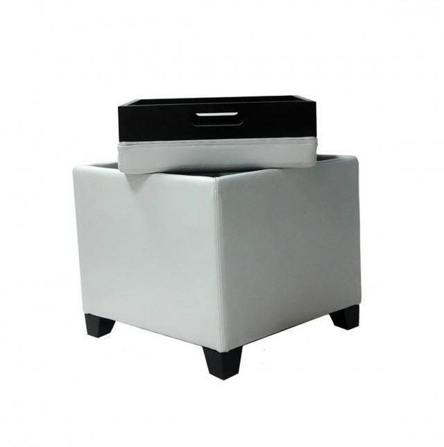 White Leather Ottoman With Tray