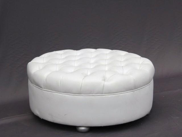 White Round Leather Ottoman