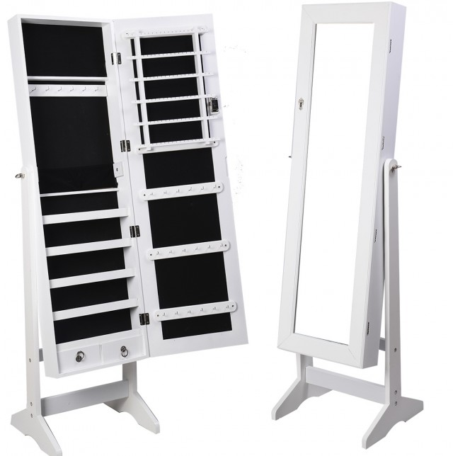 White Standing Mirror Jewelry Armoire