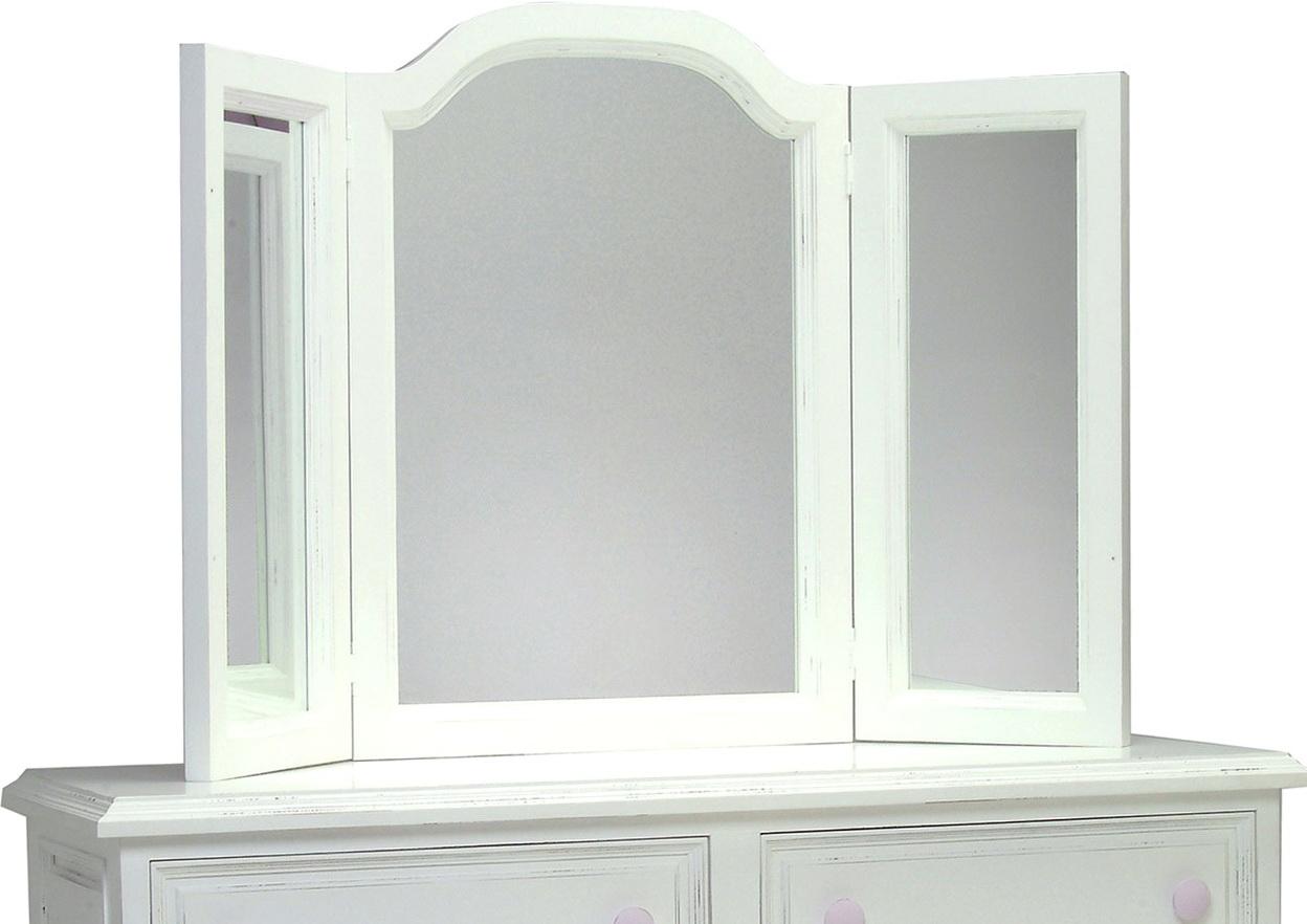 White Tri Fold Vanity Mirror