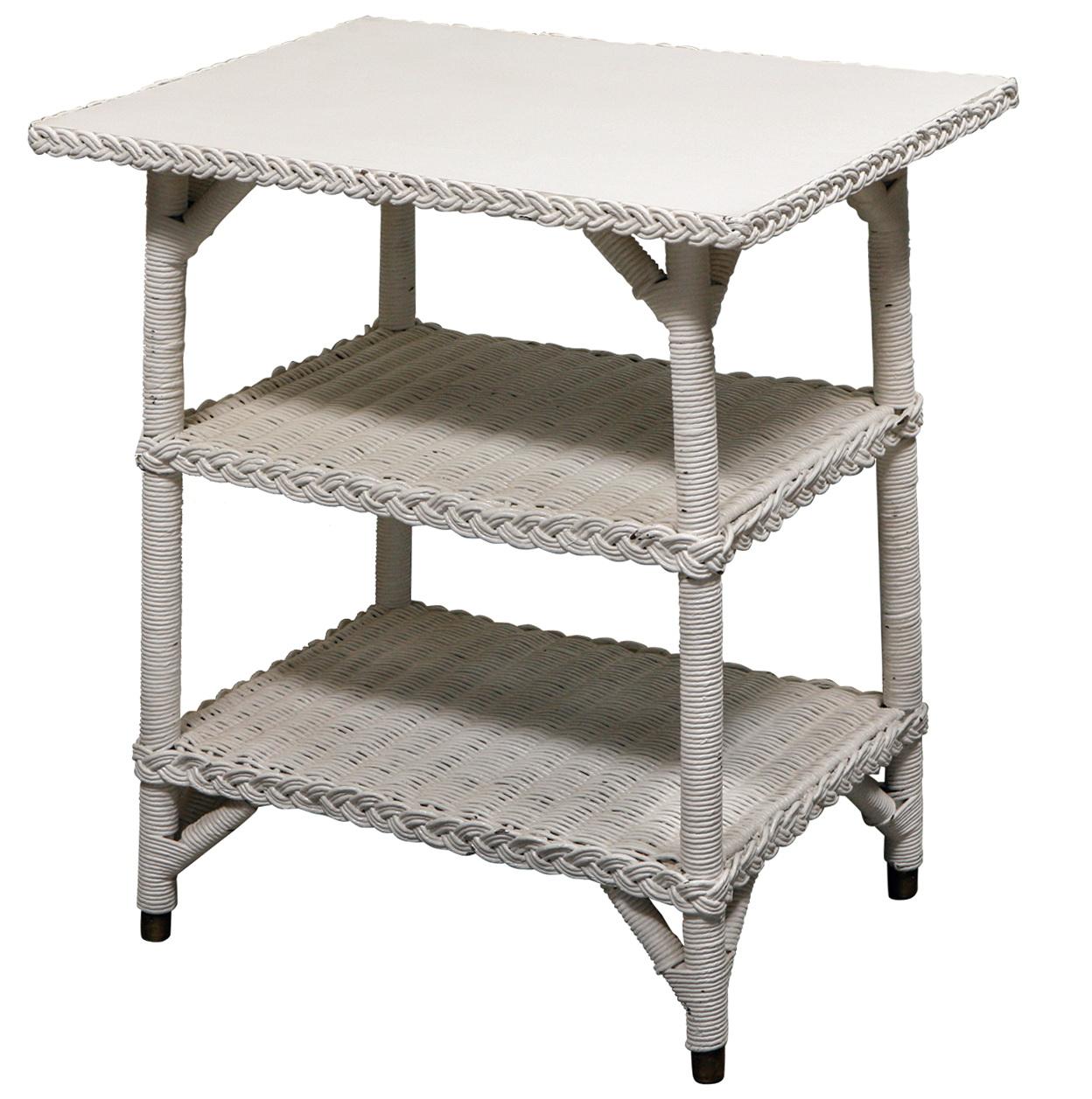 White Wicker Side Table