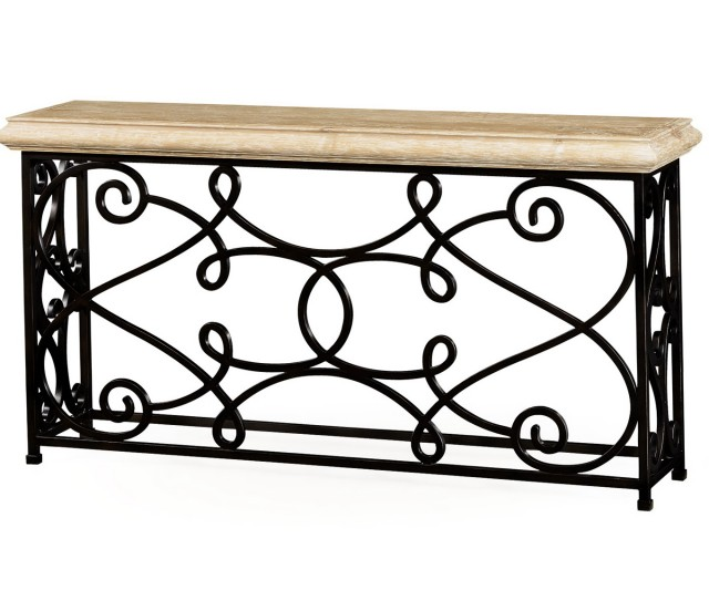 Wood And Iron Console Table