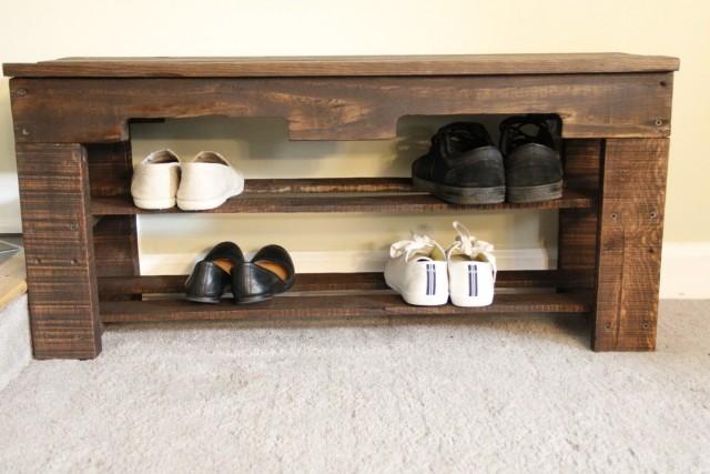 Wood Shoe Rack Bench