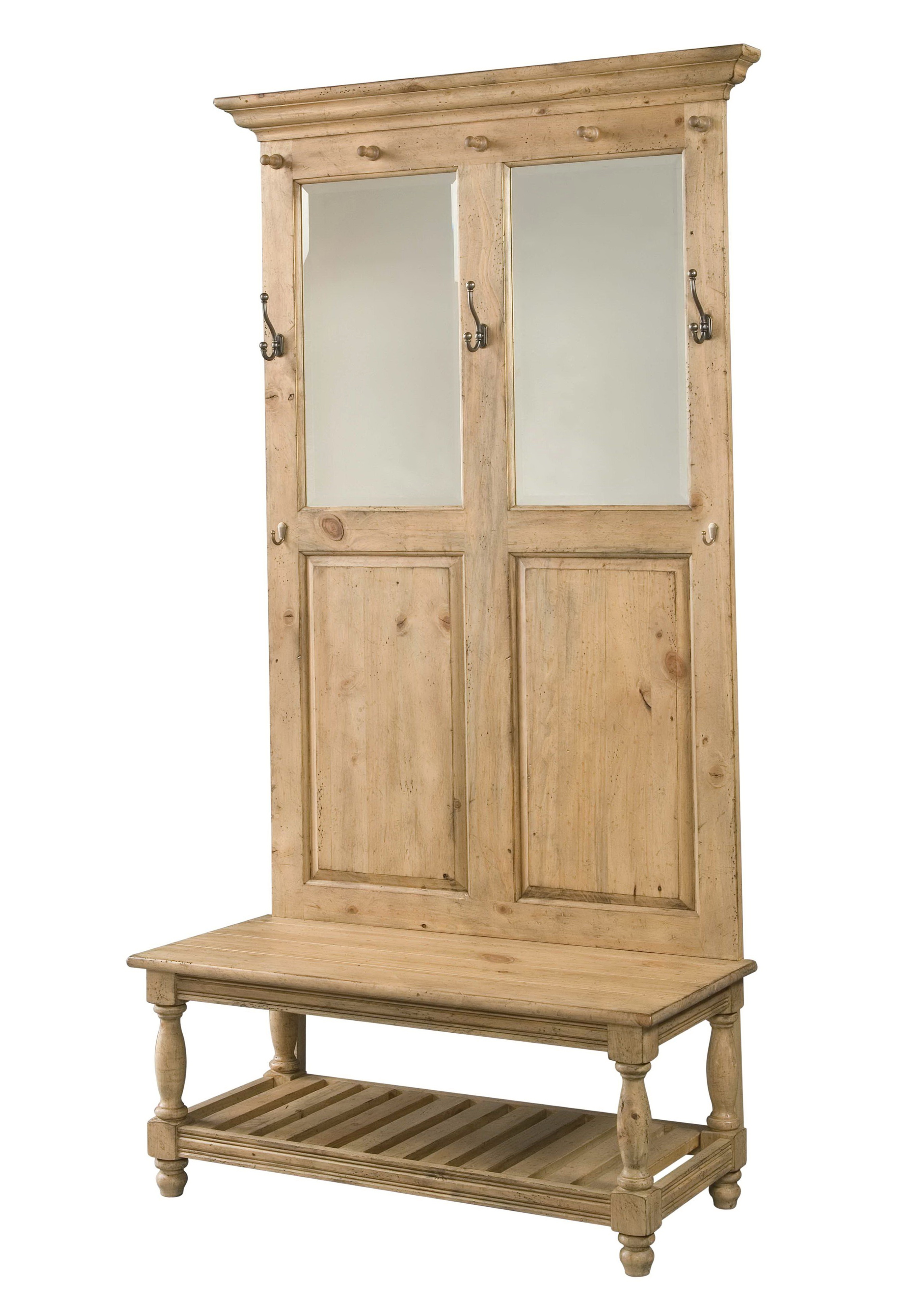 Antique Hall Tree With Bench And Mirror