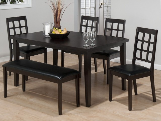 Black Dining Room Table With Bench