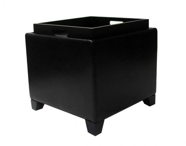 Black Ottoman With Storage Tray