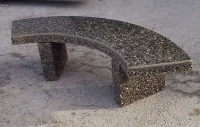 Curved Concrete Garden Bench
