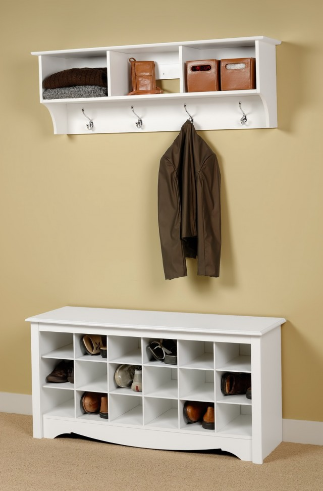 Entryway Bench Coat Rack White