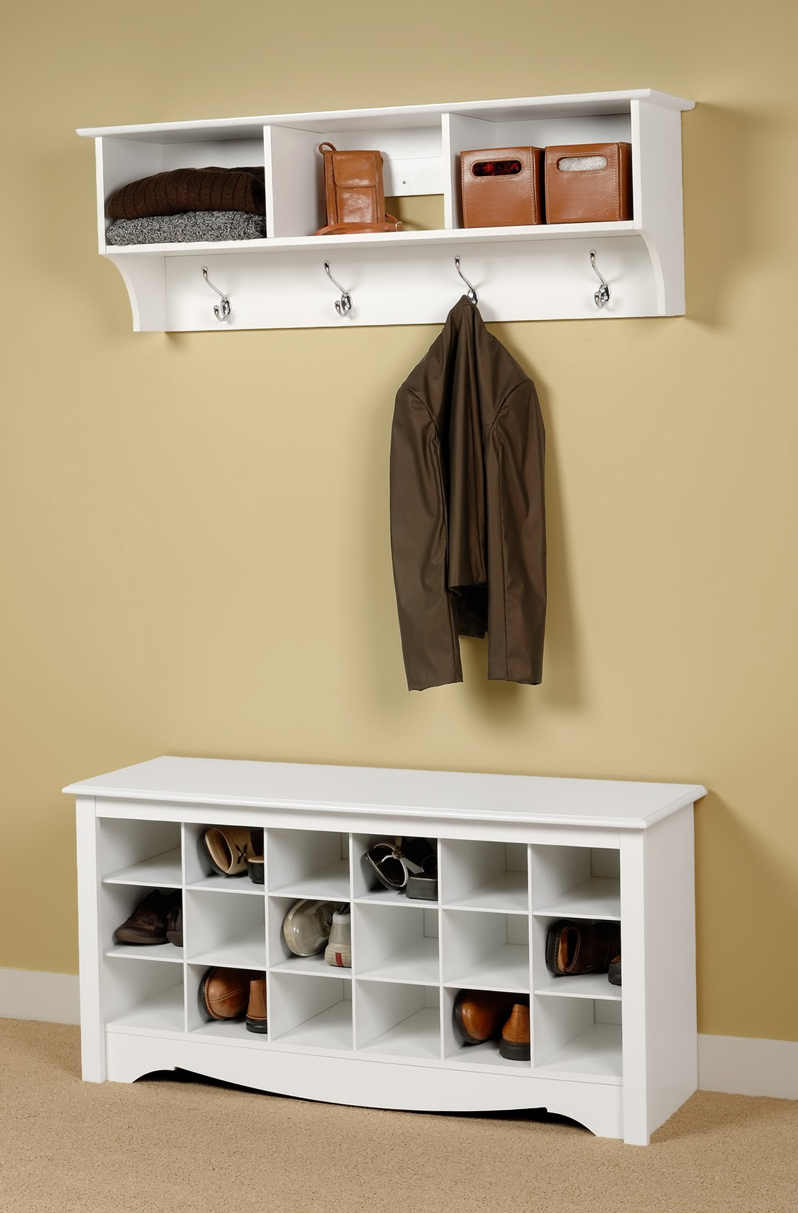 Entryway Bench With Shoe Storage And Coat Rack