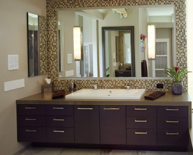 Frame Bathroom Mirror With Tile