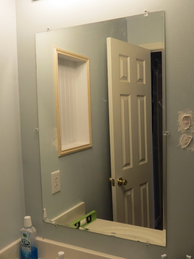 Framing A Bathroom Mirror With Metal Clips