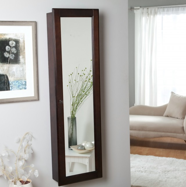 Full Length Mirror Jewelry Armoire Wall Mount