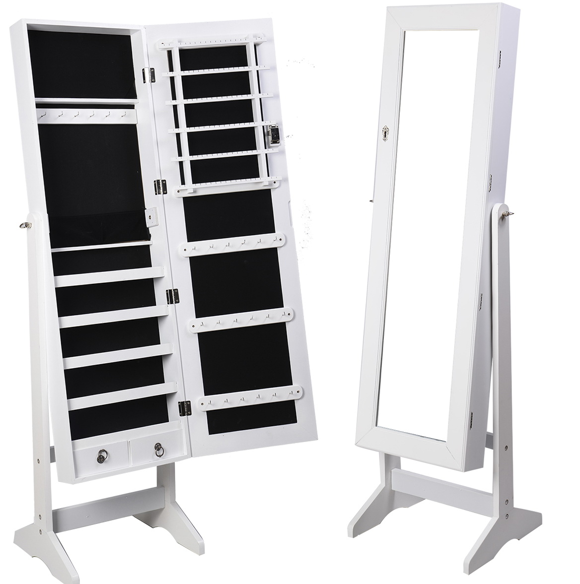 Full Length Mirror Jewelry Armoire White