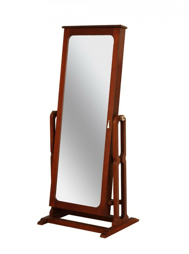Full Length Mirror With Jewelry Storage Inside White