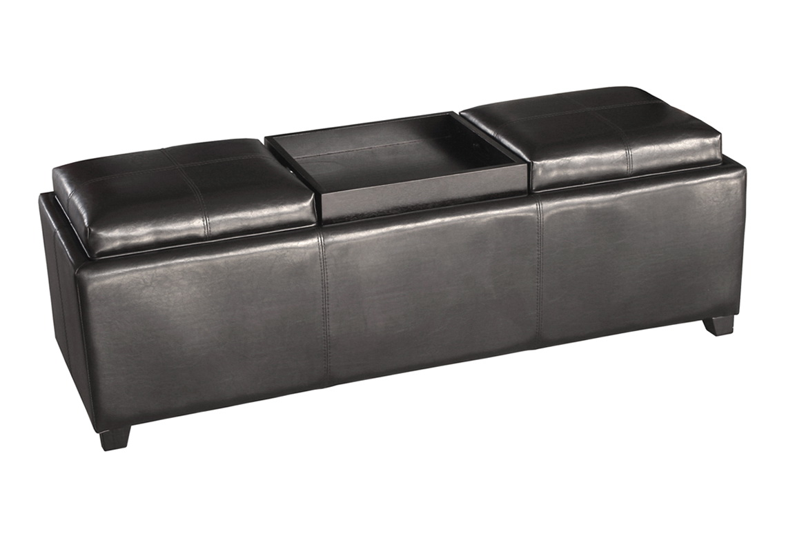Grey Storage Ottoman With Tray