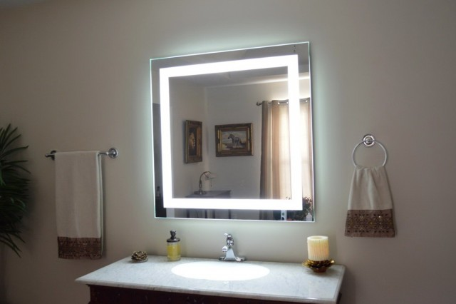 Lighted Makeup Mirror Wall Mounted Plug In