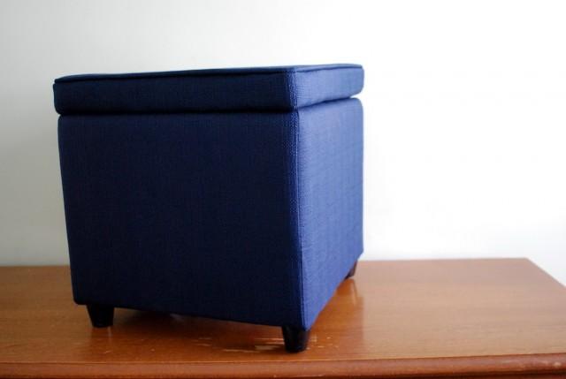 Navy Blue Storage Ottoman