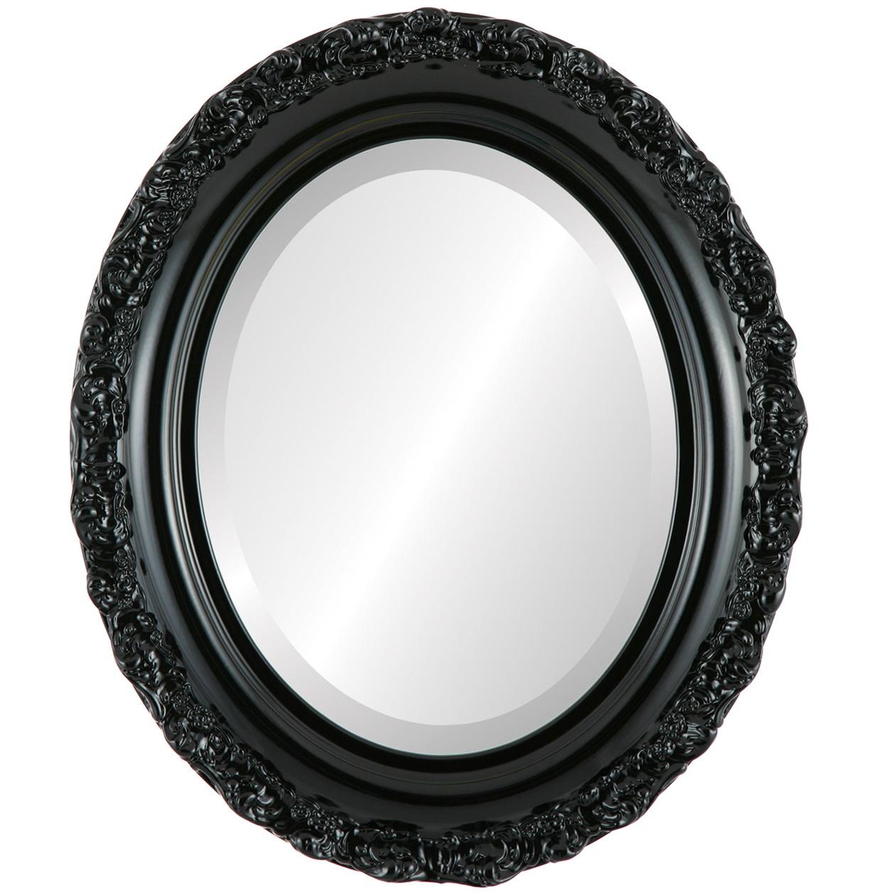 Oval Black Framed Mirror