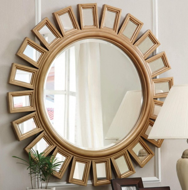 Round Sunburst Wall Mirror