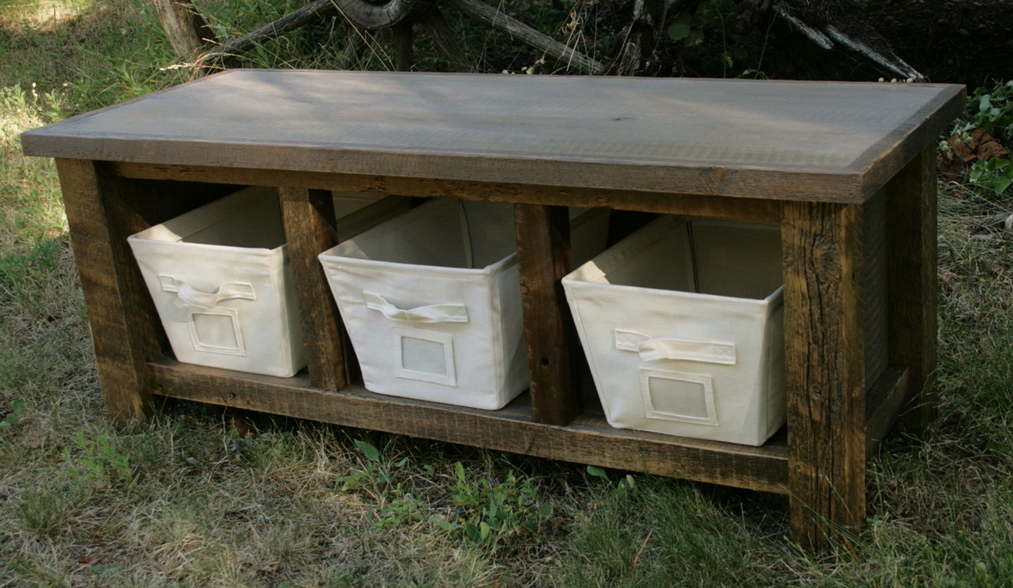 Rustic Wood Storage Bench