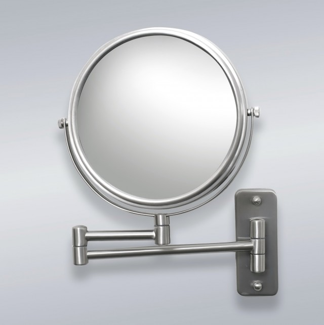 Wall Mounted Magnifying Mirror Brushed Nickel
