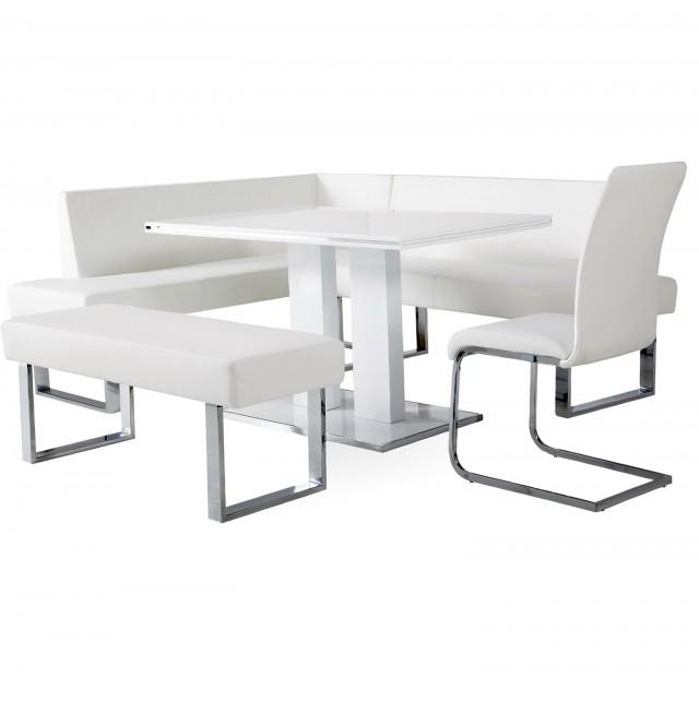 White Bench Dining Set