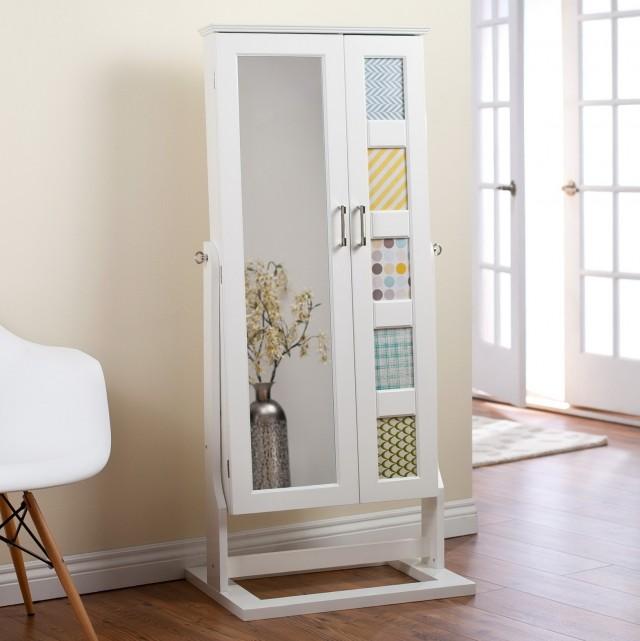 White Floor Mirror With Jewelry Storage