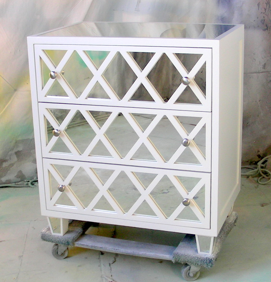 White Mirrored Side Tables