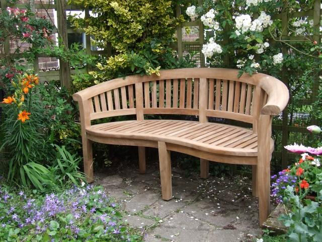 Curved Teak Garden Bench