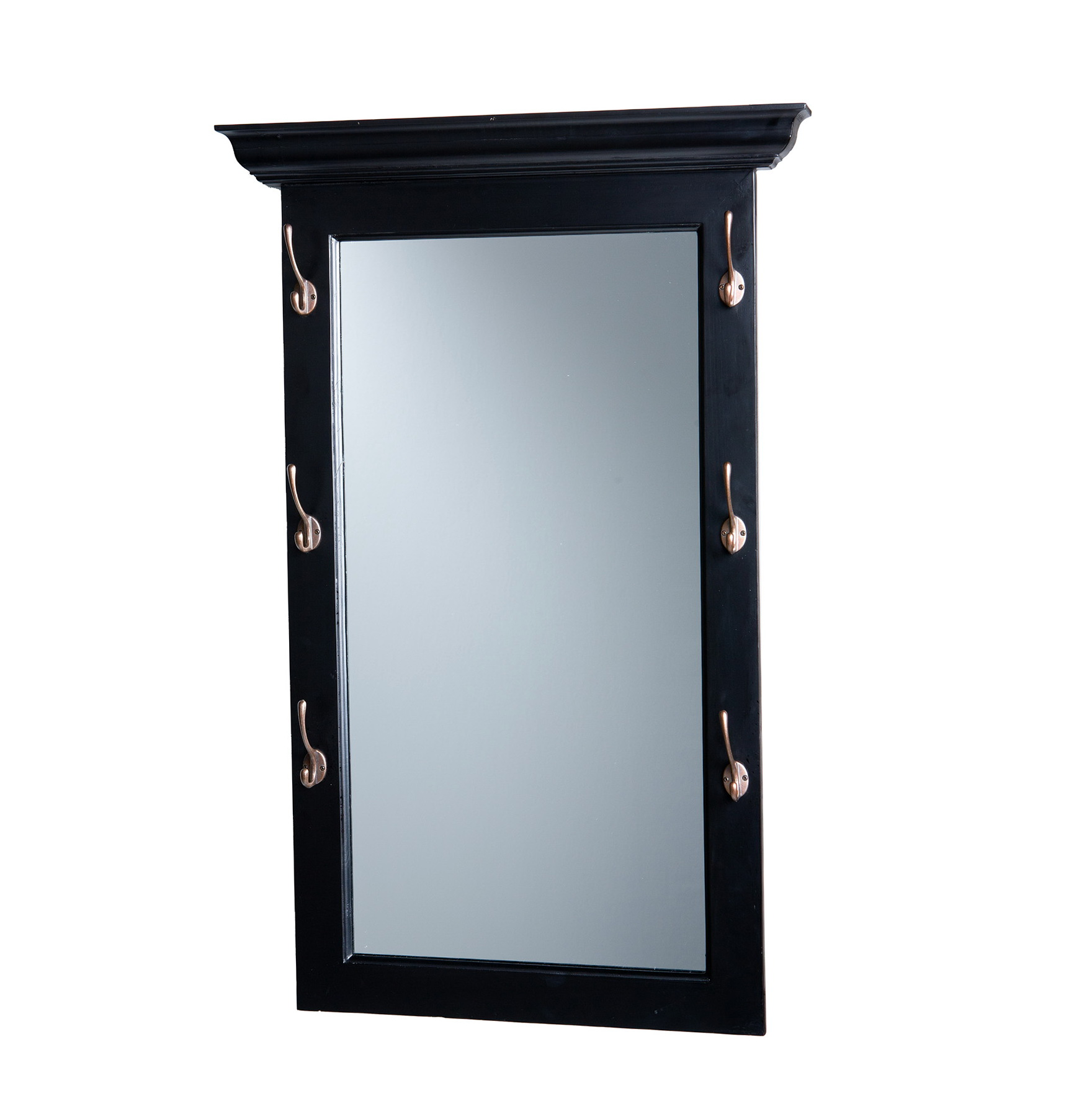 Entry Mirror With Hooks Black