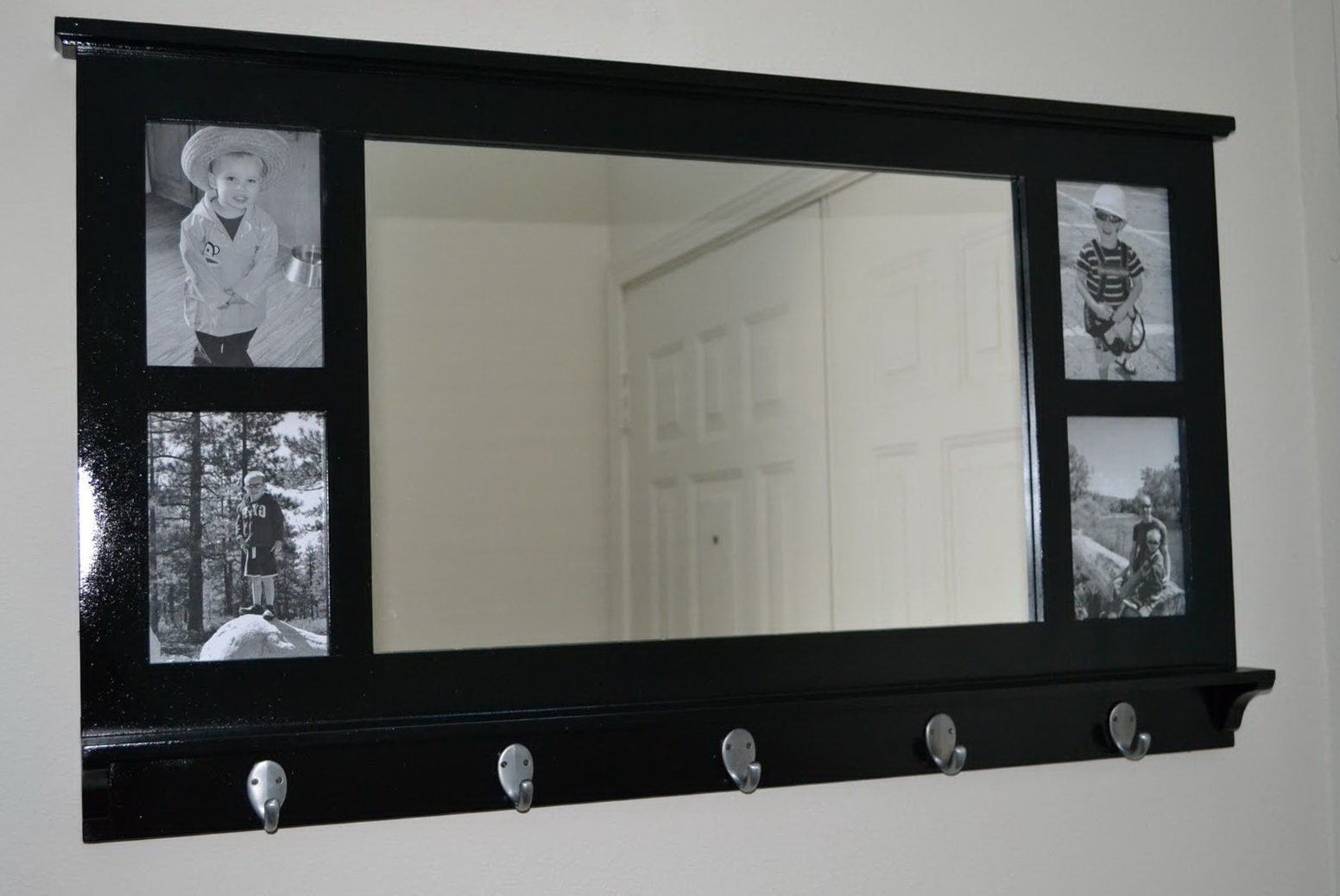 Entry Mirror With Shelf And Hooks