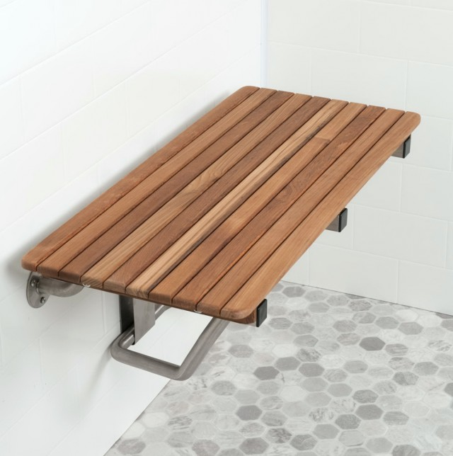 Fold Down Teak Shower Bench