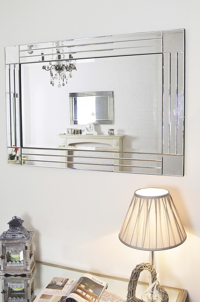 Large Frameless Beveled Mirror