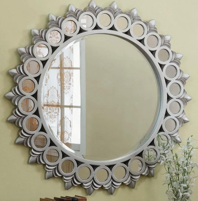 Large Round Silver Mirror