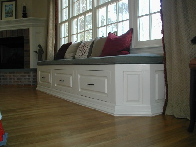 Long White Storage Bench