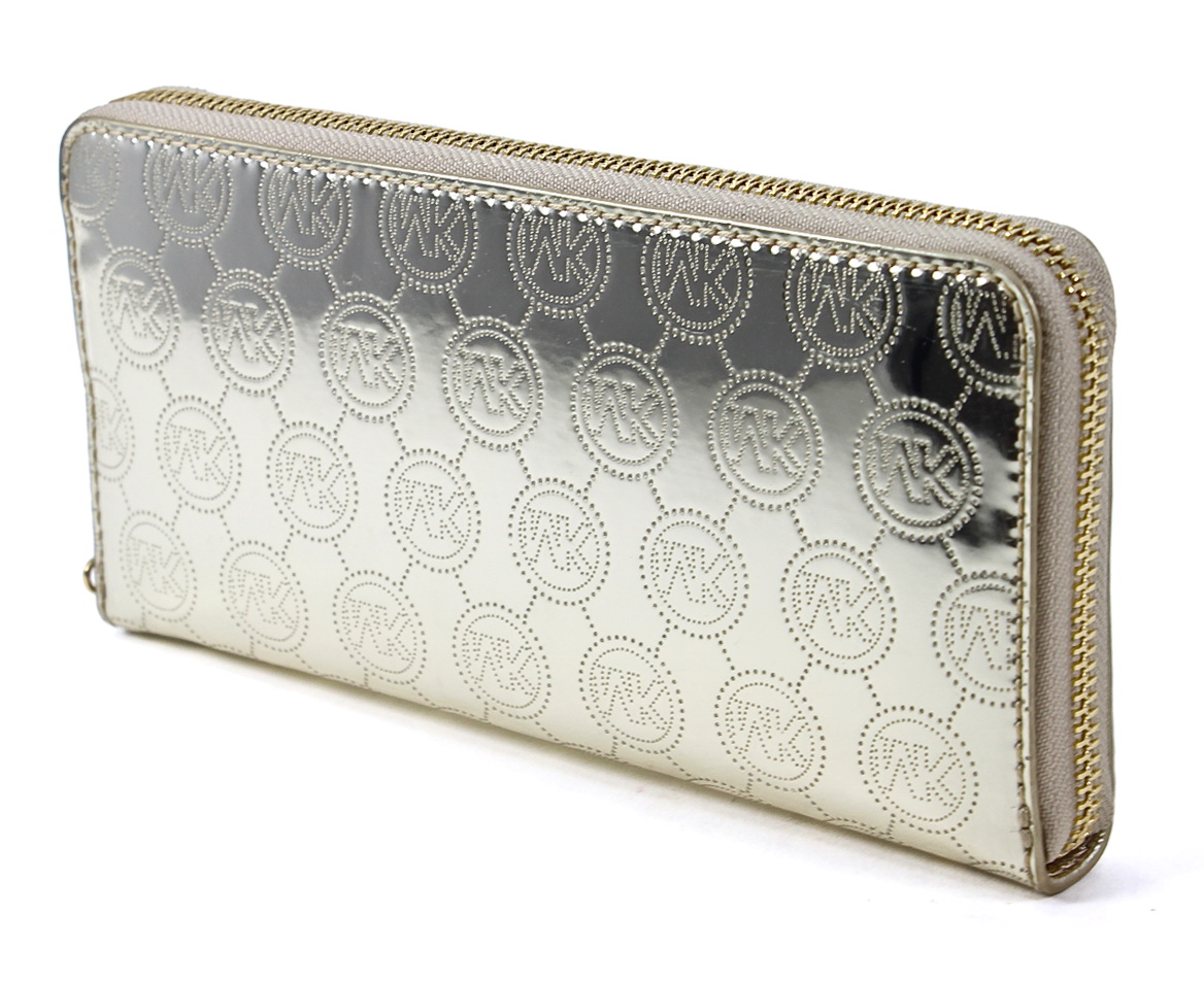 Michael Kors Pale Gold Signature Mirror Metallic Zip Around Continental Wallet