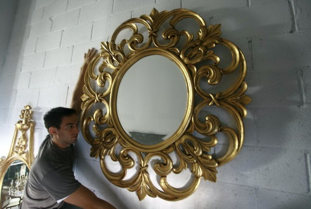 Round Antique Gold Mirror
