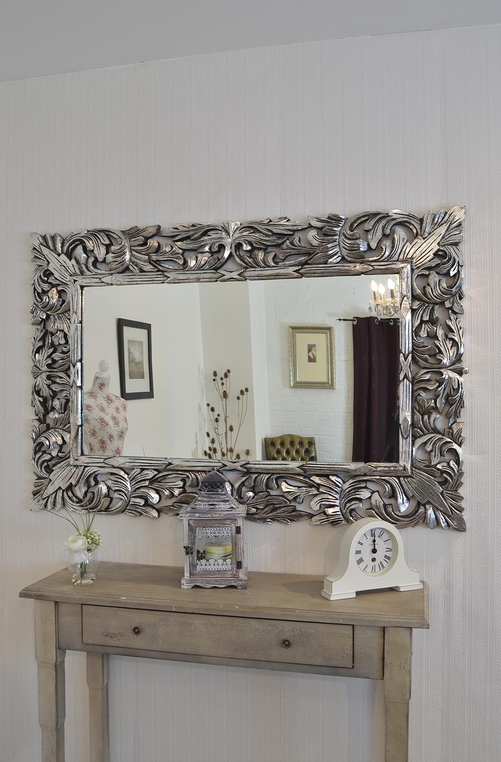 Silver Framed Mirror Large